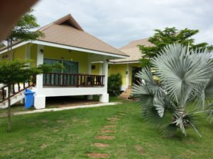 Rooms face onto a garden at the Thipburee Resort